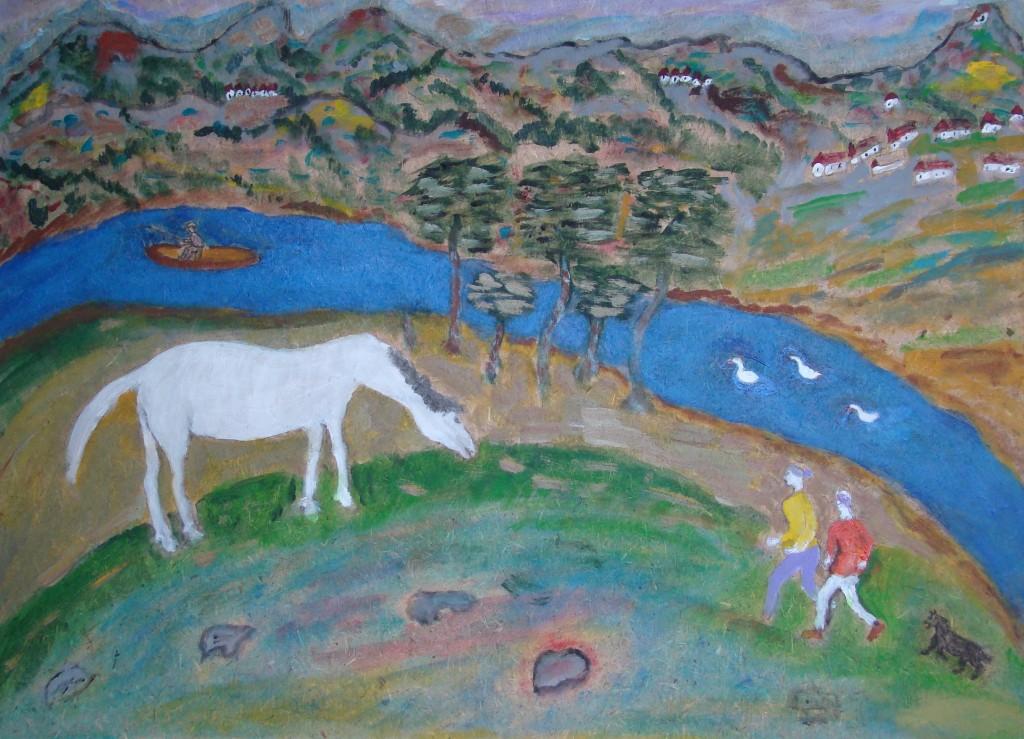 Лисицкий В. Белая лошадь.орг.акр.45.5х62.5 2015г.